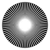 Circular geometric motif. Abstract grayscale op-art element Stock Photography