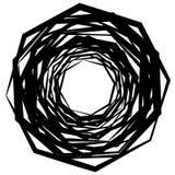 Circular geometric motif. Abstract grayscale op-art element Stock Photos