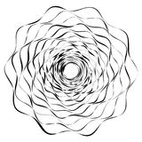 Circular geometric motif. Abstract grayscale op-art element Royalty Free Stock Photography