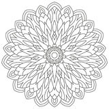 Circular geometric ornament. Round outline Mandala for coloring book page Stock Photography