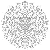 Circular geometric ornament. Round outline Mandala for coloring book page. Royalty Free Stock Image