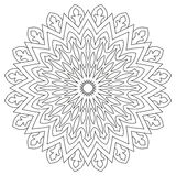 Circular geometric ornament. Round outline Mandala for coloring book page. Royalty Free Stock Photos