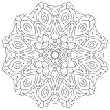 Circular geometric ornament. Round outline Mandala for coloring book page Royalty Free Stock Photography
