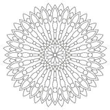 Circular geometric ornament. Round outline Mandala for coloring book page. Royalty Free Stock Photography
