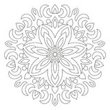 Circular geometric ornament. Round outline Mandala for coloring book page. Stock Photo