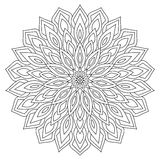 Circular geometric ornament. Round outline Mandala for coloring page Royalty Free Stock Photos