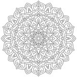 Circular geometric ornament. Round outline Mandala for coloring page. Vintage decorative elements vector illustration