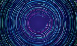 Circular geometric vortex light motion background stock illustration