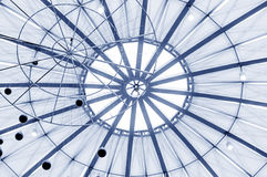 Circular glass roof. A modern architectural interior Royalty Free Stock Images