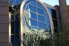 Circular glass window. Of modern building in Phoenix, Arizona Stock Image