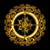 Circular Gold Filigree over black background. An illustration of an elegant antique gold filigree design in a circular shape isolated over black background Royalty Free Stock Image