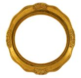 Circular golden frame. Isolated on white Stock Photos