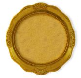 Circular golden frame. With background isolated on white Royalty Free Stock Photo