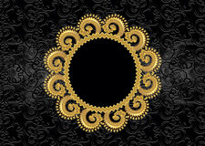 Circular golden frame with wavy border Royalty Free Stock Photo