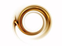 Circular golden motion. Golden stripes in circular motion on white background Royalty Free Stock Image