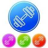 Circular, gradient barbell/dumbbell icon frame/outline. Four variations stock illustration
