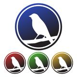 Circular, gradient four colors icon of a bird perched on a tree branch royalty free illustration