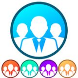 Circular, gradient group/team of business people white silhouette icon. Five color variations. Isolated on white Royalty Free Stock Image
