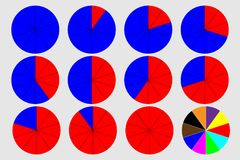 Circular graph - vector. Pie graph circle percentage chart 0 10 20 30 40 50 60 70 80 90 100 % set vector illustration - blue and red Royalty Free Illustration