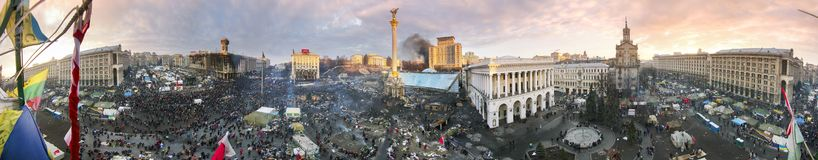 Circular 360 graus de panorama de Maidan Imagens de Stock Royalty Free