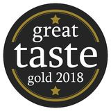 Great taste 2018 button. Circular great taste button with words gold 2018, white background Royalty Free Stock Image