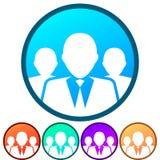 Circular, grupo do inclinação/equipe dos executivos do ícone branco da silhueta Cinco variações da cor Imagem de Stock Royalty Free