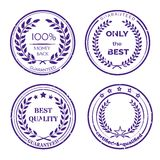 Circular Guarantee Label Set on White Background. Circular Guarantee Label Set with Wreaths Isolated on White Background Royalty Free Stock Photography