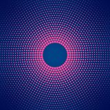 Abstract Circular Pink Halftone Dots Pattern in Dark Blue Background stock illustration