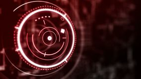 Circular hologram interface loop, red hud abstraction stock video
