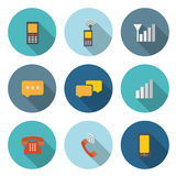 Circular Icon for Communication Concept with telephone and bubbl Royalty Free Stock Images