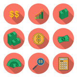 Circular Icon for Money and Finance Concept with Coin and Bankno Stock Photography