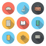 Circular Icon for School and Education Design and Concept Royalty Free Stock Images