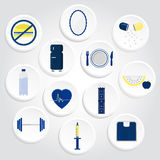 Circular icons of health with gradient Royalty Free Stock Photo