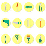Circular icons of tools Royalty Free Stock Photos