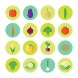 Circular icons with vegetables in flat. Vector illustration. Vector set of circled icons with vegetables in flat style for web design stock illustration