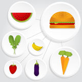 Circular icons of vegetables and hamburger Royalty Free Stock Image