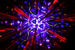 Circular image made with a kaleidoscope. Reflection of lights that generates images of fractal type. Abstract image of circular shape made with a kaleidoscope royalty free stock image