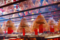 Circular incenses in Chinese temple Stock Image