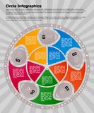 Circular infographic design template. Infographic design template. Circular style of infographics for presentation of circular process in your business. Circle stock illustration