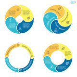 Circular infographics with rounded colored sections. Royalty Free Stock Photos