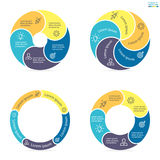 Circular infographics with rounded colored sections. Stock Images