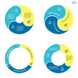 Circular infographics with rounded colored sections. Stock Image