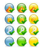 Circular internet security icon set. Set of 9 website safety icons depicting firewall, key & lock, in blue, green & yellow variations, blanks included Royalty Free Stock Photo