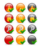 Circular internet security icon set. Set of 9 website safety icons depicting firewall, key & lock, in red, orange & black variations, blanks included Royalty Free Stock Photo