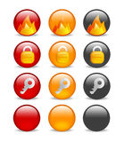 Circular internet security icon set. Set of 9 website safety icons depicting firewall, key & lock, in red, orange & black variations, blanks included Royalty Free Stock Photography