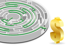 Circular Labyrinth. Concept - Success in Business. Circular Labyrinth with the solution and Dollar Sign, vector illustration Royalty Free Stock Photography