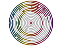 Circular labyrinth abstract, logic puzzle. With bright rainbow walls Stock Image