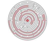 Circular labyrinth abstract, logic puzzle, path to the goal Stock Photos