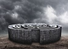 Circular labyrinth Stock Photography