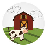 Circular landscape with barn and cow Stock Images